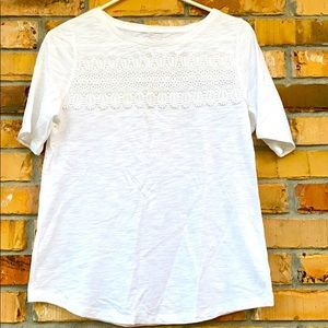 Talbots Small Petite Lace Detail Tee
